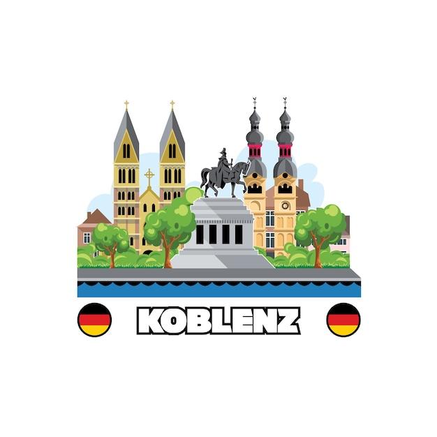 Horizonte de la ciudad de koblenz con arquitectura y monumentos de paisaje urbano. Vector Premium