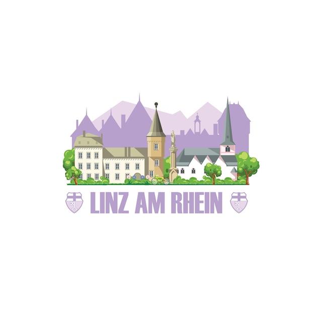 El horizonte de la ciudad de linz am rhein con monumentos paisaje urbano, arquitectura y escudo de armas de la ciudad. Vector Premium