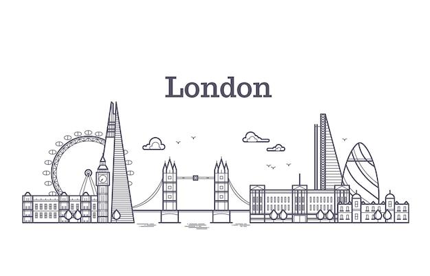 Horizonte de la ciudad de londres con edificios famosos, lugares de interés turístico de inglaterra contorno ilustración vectorial Vector Premium