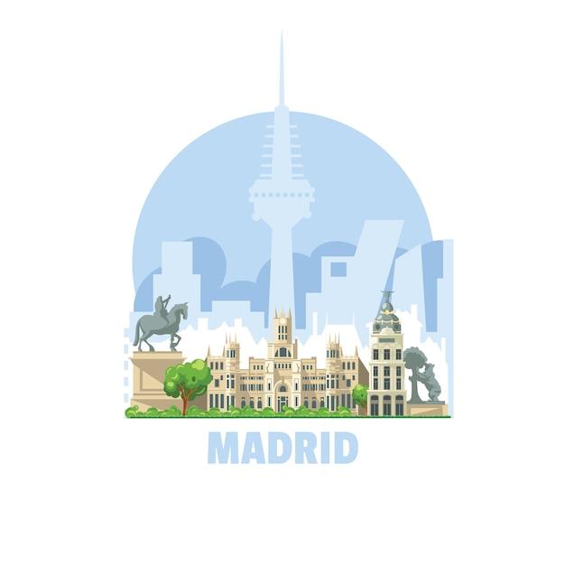 Horizonte de la ciudad de madrid, españa. una de las ciudades más visitadas por los turistas en el mundo. Vector Premium