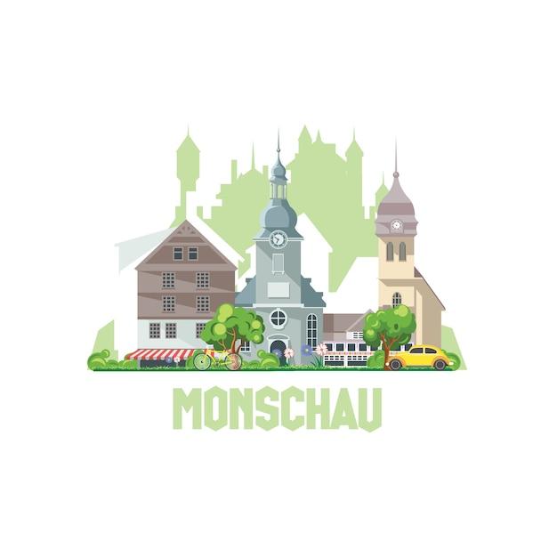El horizonte de la ciudad de monschau, alemania. paisaje de la ciudad con castillos y edificios antiguos. Vector Premium