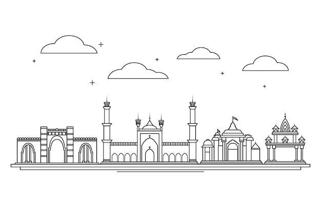 Horizonte lineal de ahmedabad vector gratuito