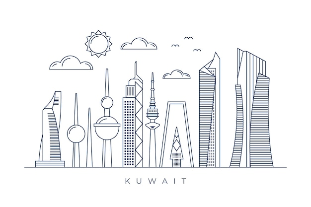 Horizonte lineal de kuwait vector gratuito