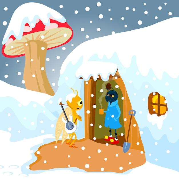 Hormiga y cidada ilustración fábula vectorial. arte vectorial para libros infantiles, portadas, revistas, páginas web y blogs. Vector Premium