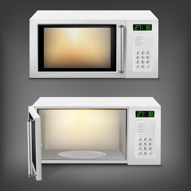 Horno microondas realista con luz interior, con puerta abierta y cerrada vector gratuito