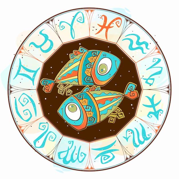 Horóscopo signo de piscis en el círculo zodiacal. Vector Premium