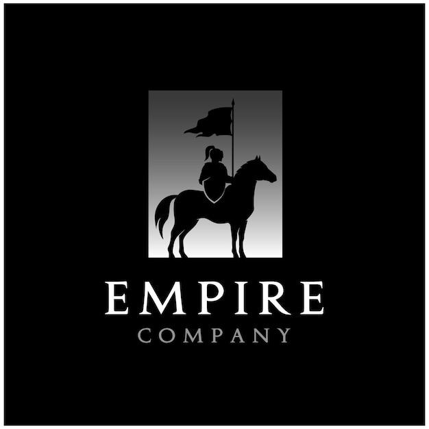 Horseback knight silhouette, horse warrior paladin medieval logo design Vector Premium