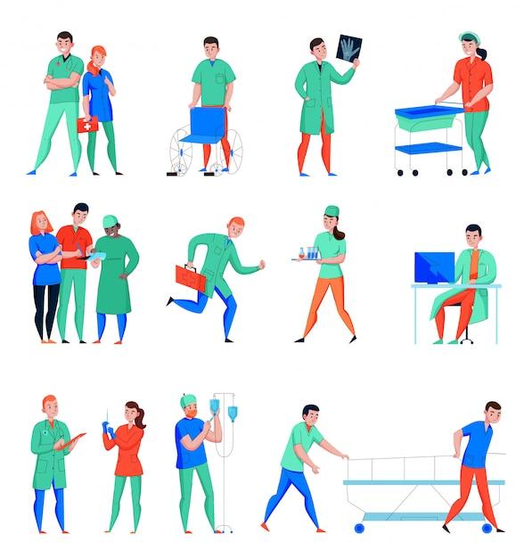 Hospital enfermera médico cirujano asistente de laboratorio médico personal de cuidados intensivos de emergencia personajes planos conjunto aislado vector gratuito