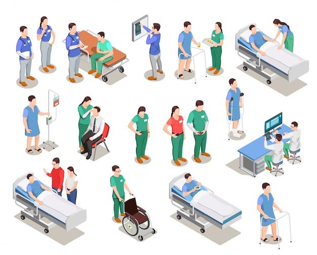Hospital personal pacientes isométrica personas vector gratuito