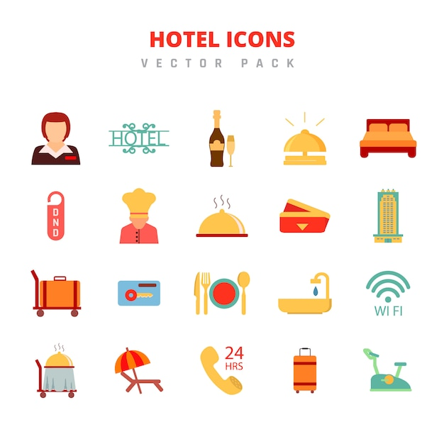 Hotel icons vector pack Vector Premium