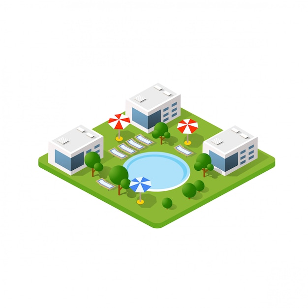Hotel isométrico 3d con piscina Vector Premium