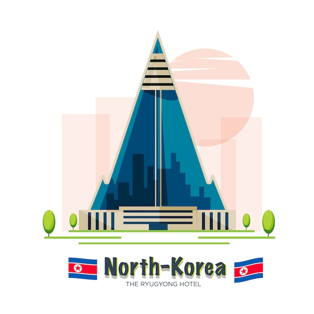 Hotel ryugyong. pyongyang, corea del norte Vector Premium