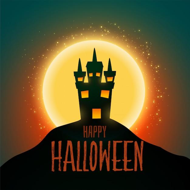 Hounter house para el feliz festival de halloween vector gratuito