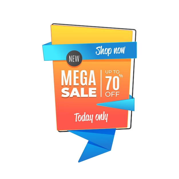 Hoy solo mega venta en estilo origami vector gratuito