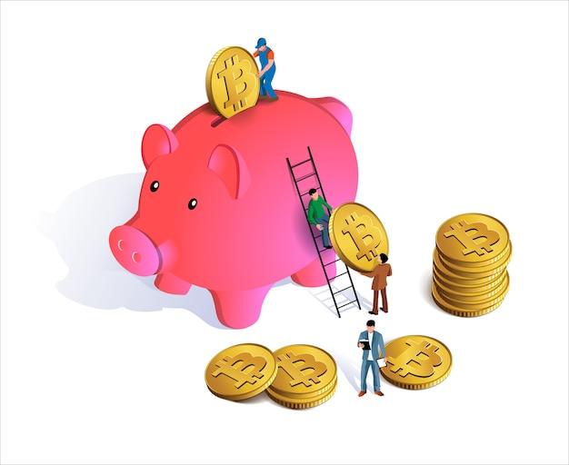 Hucha rosa con monedas cayendo en la ranura. hucha con dinero. Vector Premium