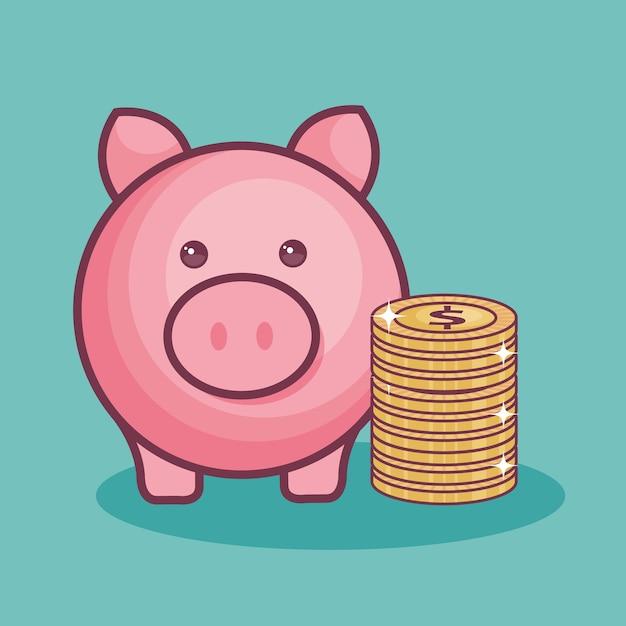 Hucha y monedas | Descargar Vectores Premium