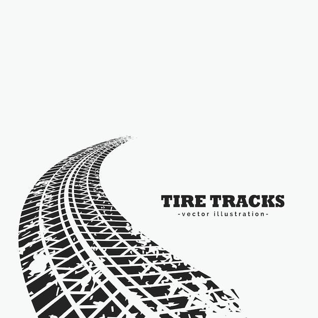 Huellas de neumáticos sucios perdiéndose  en el horizonte Vector Gratis