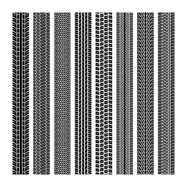 Huellas de neumáticos. banda de rodadura vehículo hilo velocidad carretera motocross traza coche carretera caucho negro textura transparente imprimir conjunto Vector Premium