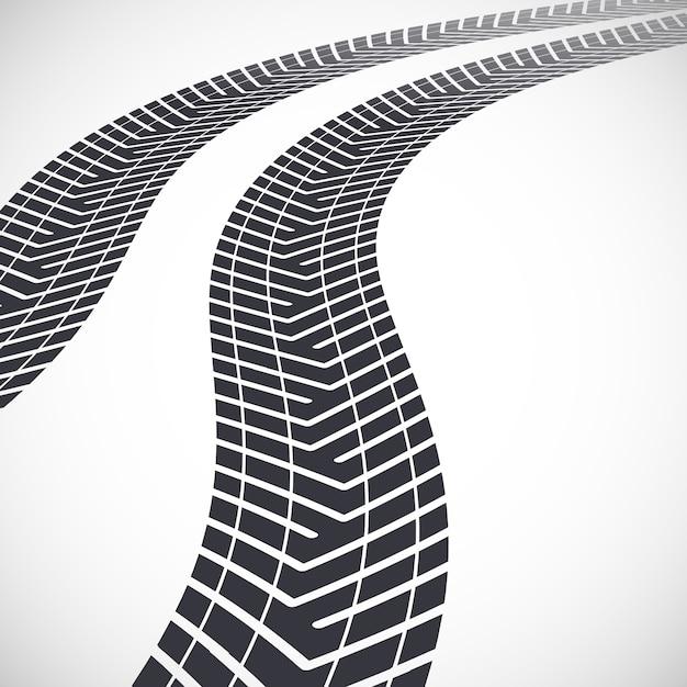 Huellas de neumáticos que conducen muy lejos. ilustración Vector Premium