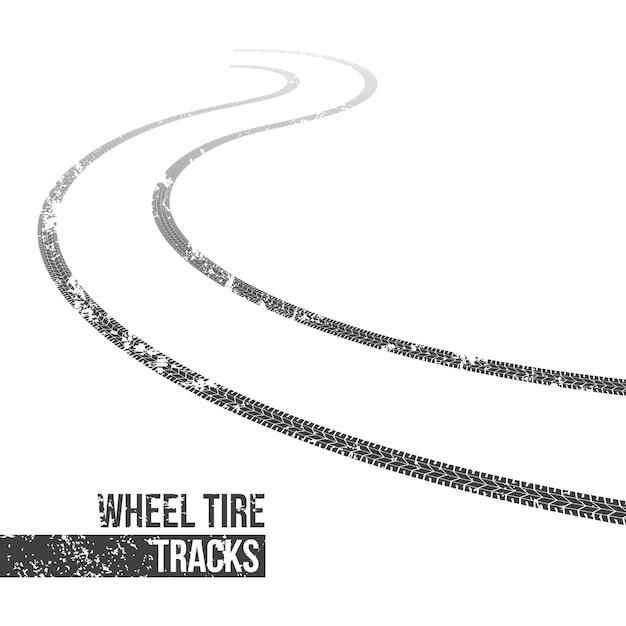 Huellas de neumáticos de ruedas, rastro de bobinado. Vector Premium