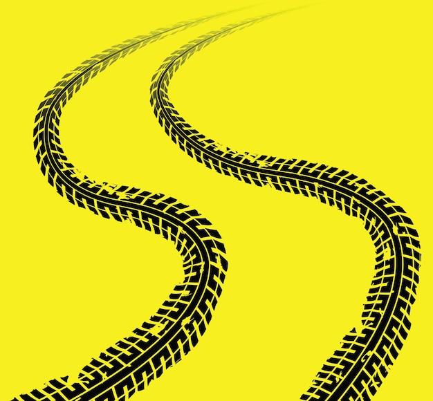 Huellas de neumáticos Vector Premium