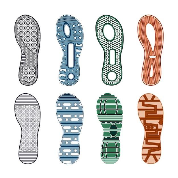 Huellas de zapatos deportivos color conjunto de diferentes patrones sobre fondo blanco aislado vector gratuito