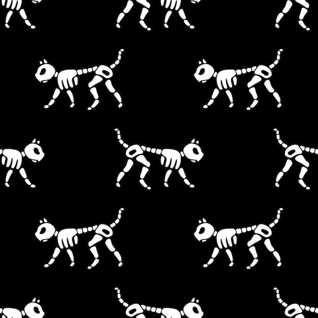 Hueso de gato halloween de patrones sin fisuras cráneo esqueleto Vector Premium