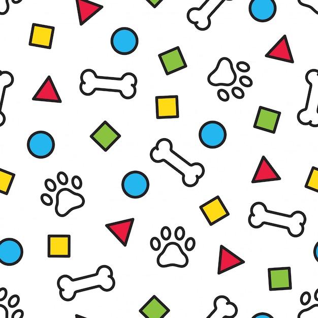 Hueso de huella de patrón de pata de perro Vector Premium
