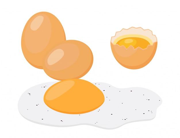 Huevo frito, desayuno. estilo plano de dibujos animados Vector Premium