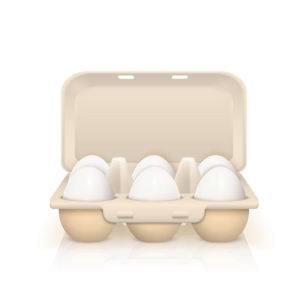 Huevos en caja ilustración vector gratuito
