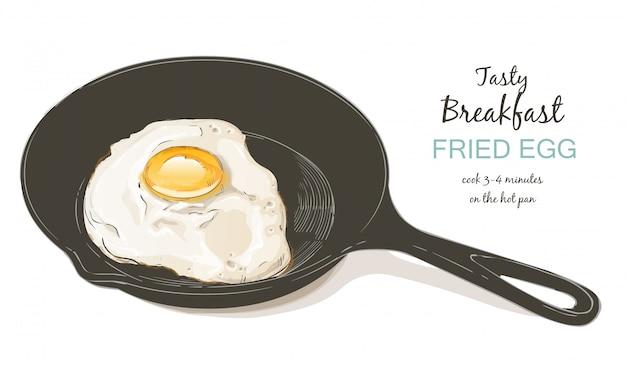 Huevos fritos ilustración vectorial Vector Premium