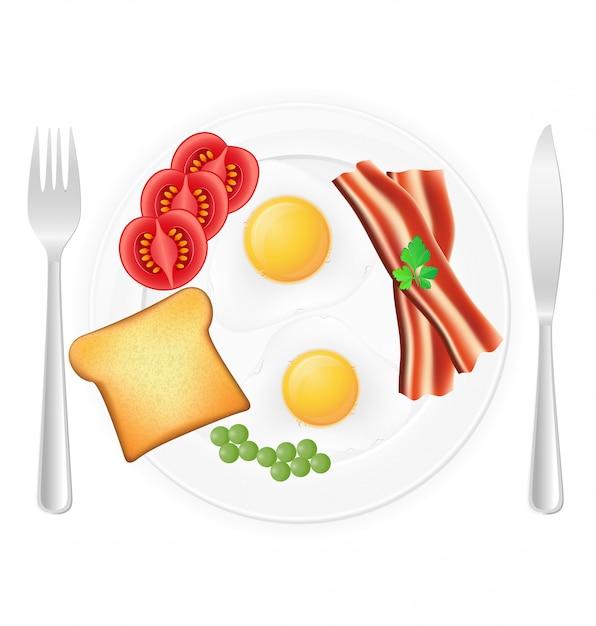 Huevos fritos con tocino y verduras de la tostada en una placa. Vector Premium