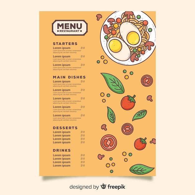 Huevos con plantilla de menú de pasta vector gratuito