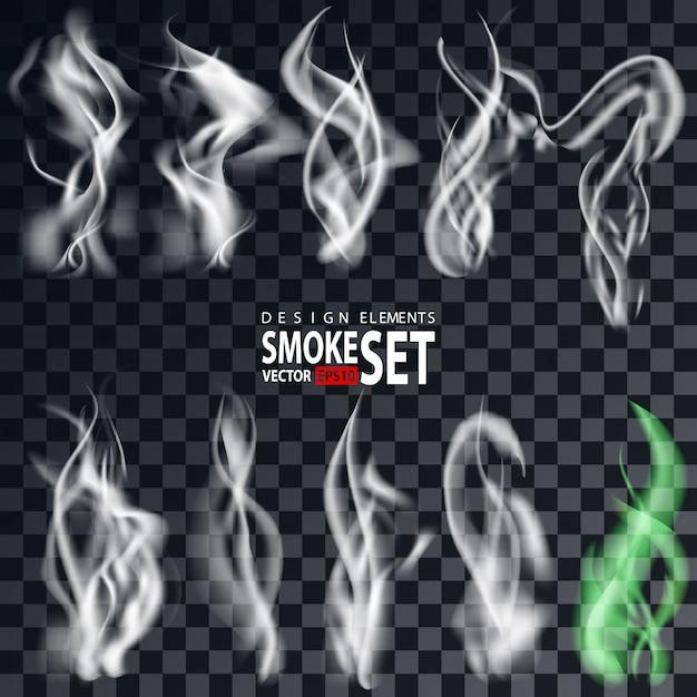 Humo aislado sobre fondo transparente. cigarrillos conjunto de humo. ondas de humo de cigarrillo realistas aisladas. Vector Premium