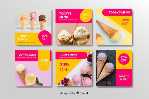 Ice cream instagram post collection vector gratuito