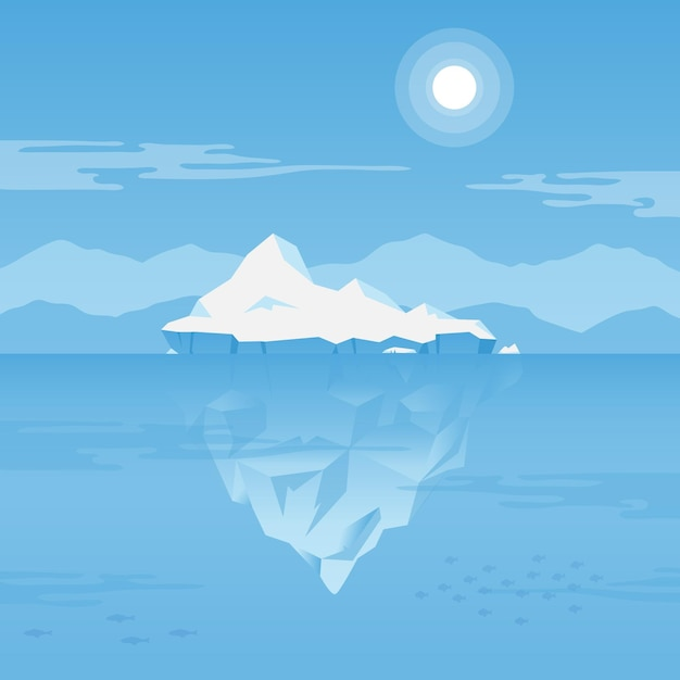 Iceberg bajo la ilustración del agua vector gratuito