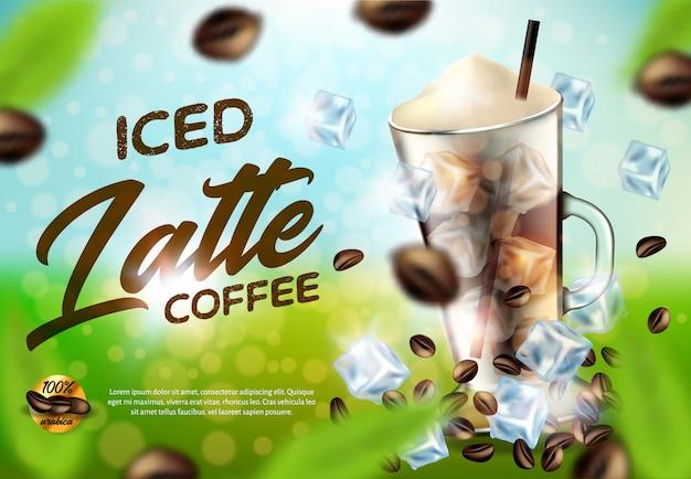 Iced arabica coffee latte promo anuncio banner, bebida Vector Premium