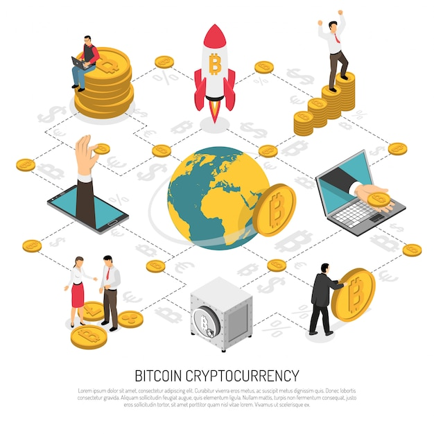 Ico cryptocurrency business isometric vector gratuito