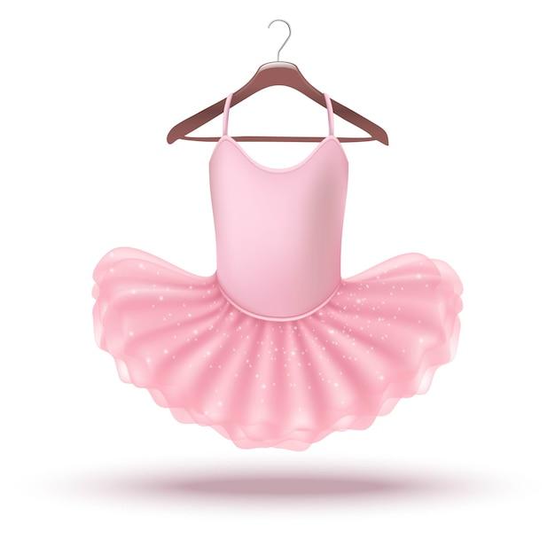 Icon little baby girl vestido de bailarina rosa en una percha. aislado en la ilustración de fondo blanco. Vector Premium