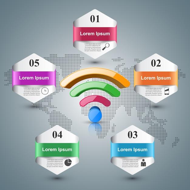 Icono de 3d wi-fi en el fondo gris. Vector Premium