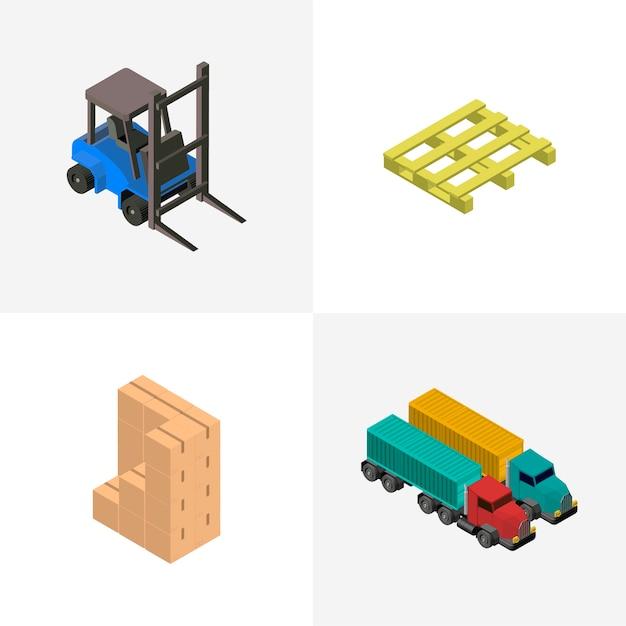 Icono aislado industrial de negocios de logística en el fondo vector gratuito