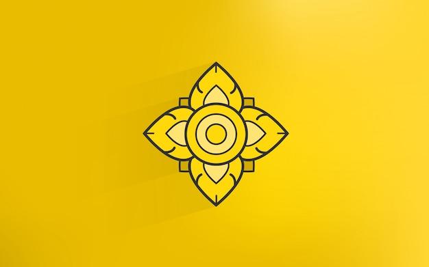 Icono de arte de tradición tailandesa con fondo de color dorado Vector Premium