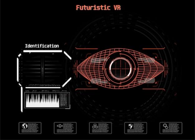 Icono en azul. ojo digital hud ui. . ilustración de medicina. icono de ojo estilo de tecnología futurista. sistema de identificación de escaneo. Vector Premium