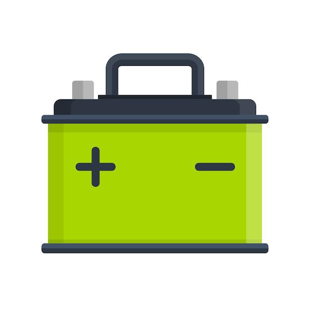 Icono de batería de coche aislado sobre fondo blanco. energía de la batería del acumulador y batería del acumulador de electricidad. acumulador de batería, autopartes, suministro eléctrico de energía en estilo plano Vector Premium