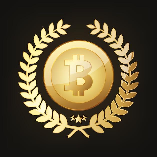 Icono de bitcoin dorado. ilustración vectorial Vector Premium