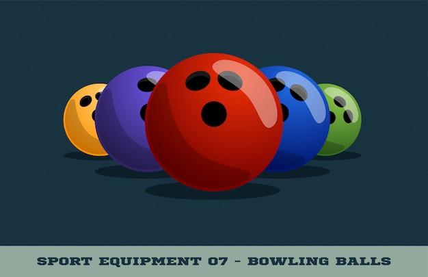 Icono de bolas de boliche. equipo de deporte. Vector Premium