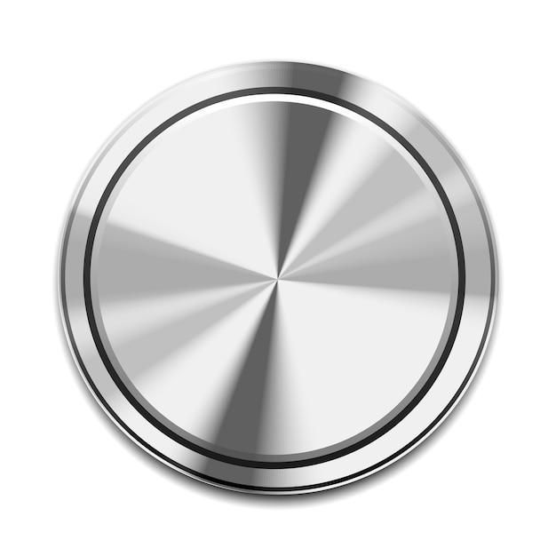 Icono de botón de metal realista aislado en blanco vector gratuito