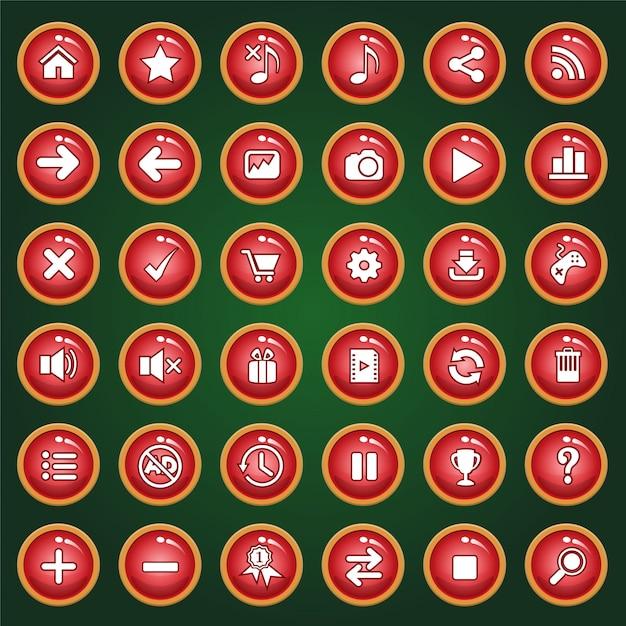 El icono del botón rojo establece la luz roja de color para los juegos Vector Premium