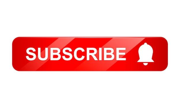 Icono de botón de suscripción con campana sobre fondo blanco, icono 3d, ilustración realista Vector Premium