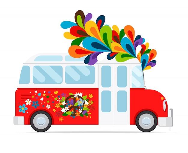 Icono de bus hippie con elemento floral. Vector Premium